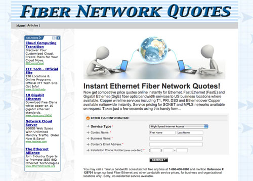 Click to run an instant Ethernet over Fiber bandwidth quote for your business location now...